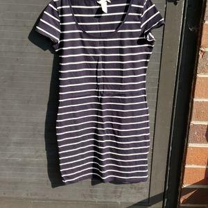 H&M.  basic blue stripe dress sz Sm